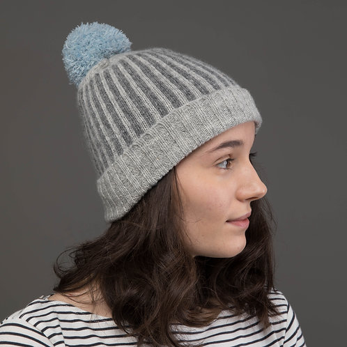 Small size,  Light grey hat with stripes and blue pom pom