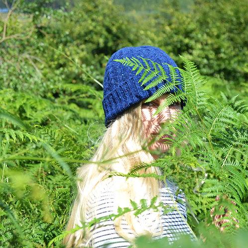 Blue Donegal Cable knit hat, unisex