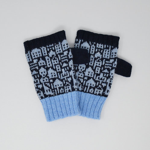 "Galaxy, blue  "" Little city""pattern  Extra soft Lambswool fingerless gloves"