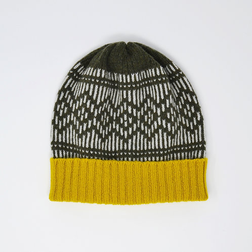 """Dundee Graphics"" loden green and yellow hat"