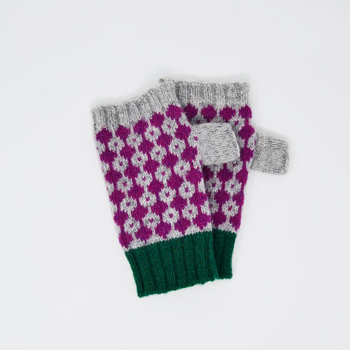 Grey and purple gloves with Green rib