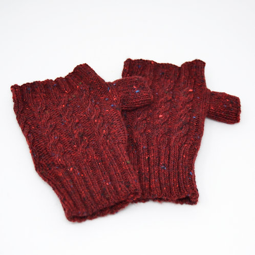 Dark Red Donegal Lambswool fingerless gloves with cable knit pattern