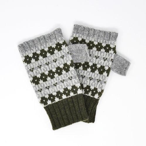 """ Heritage"" dark green, grey  fingerless gloves"