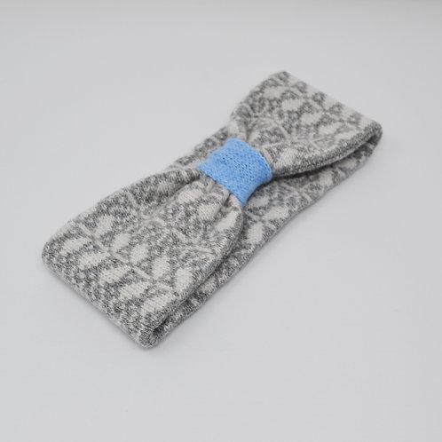 Grey, Blue headband with flora pattern