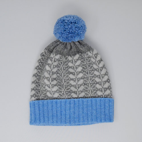 Grey, blue pom pom hat with flora pattern