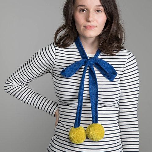 Dark blue skinny scarf with yellow pom poms