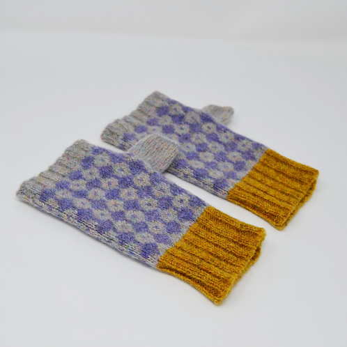 Pearl grey, violet fingerless gloves with mustard rib