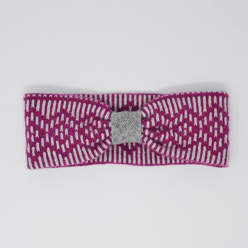 """Dundee""Dundee  Graphics ""pattern headband in loganberry and grey"