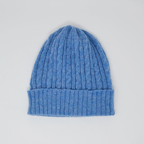 Light blue cable knit hat, unisex hat, Lambswool