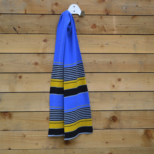 Dark Blue, black, yellow stripe scarf