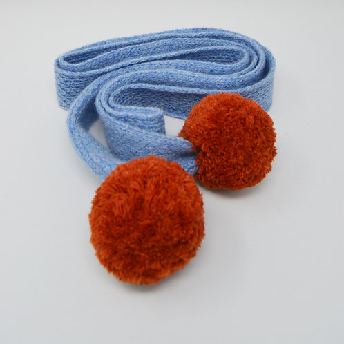 Light Blue skinny scarf with Rusty orange pom poms