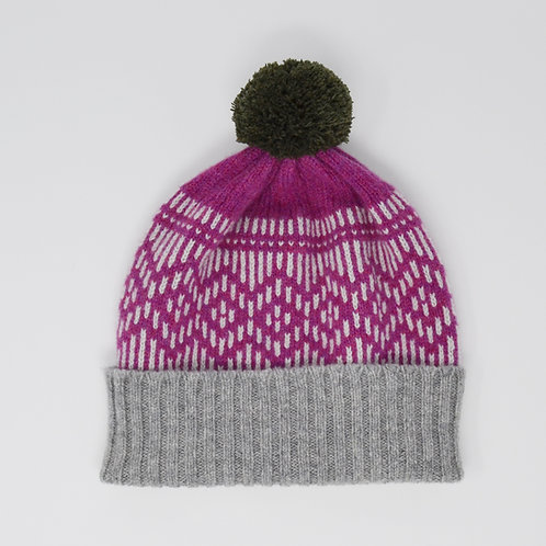 """""""Dundee Graphics"""" Loganberry hat with Loden green pom pom"""