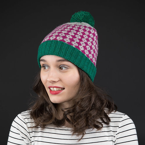Green, grey and purple hat with green pom pom