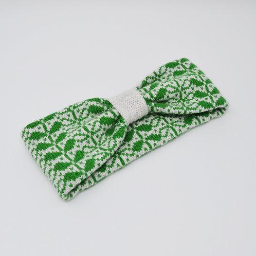 Grey, dark green headband with flora pattern
