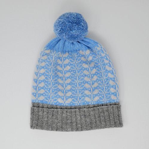 Skye blue, grey hat with flora pattern