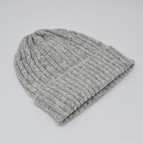 Silver grey cable knit hat, unisex