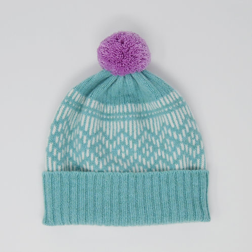 """""""Dundee Graphics"""" Mint blue hat with pink pom pom"""