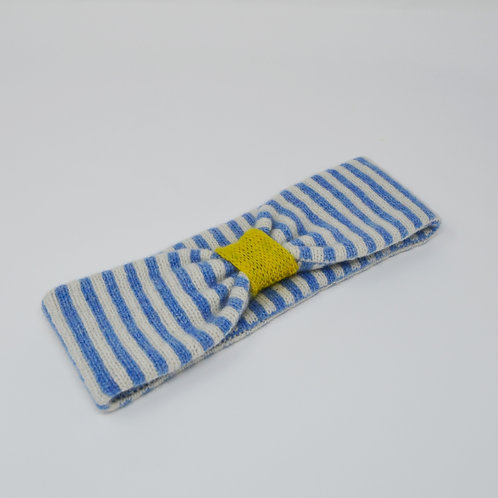 Blue, white and yellow headbands with stripes