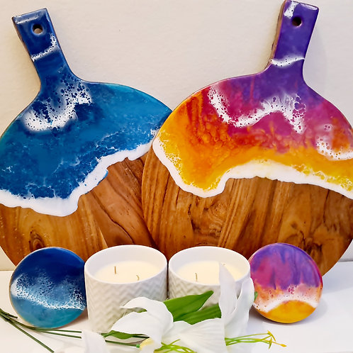 Beach or Sunset theme Resin Cheeseboards