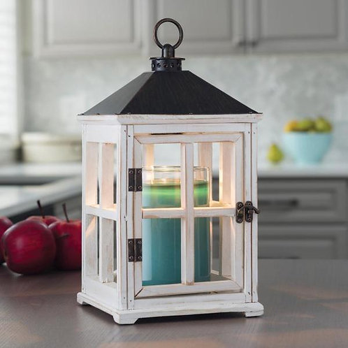 Weathered White Wooden Lantern