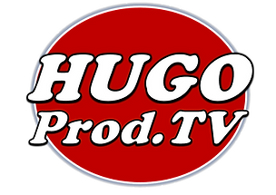 HUGO PROD Logo Azul Blanco Negro Fondo R