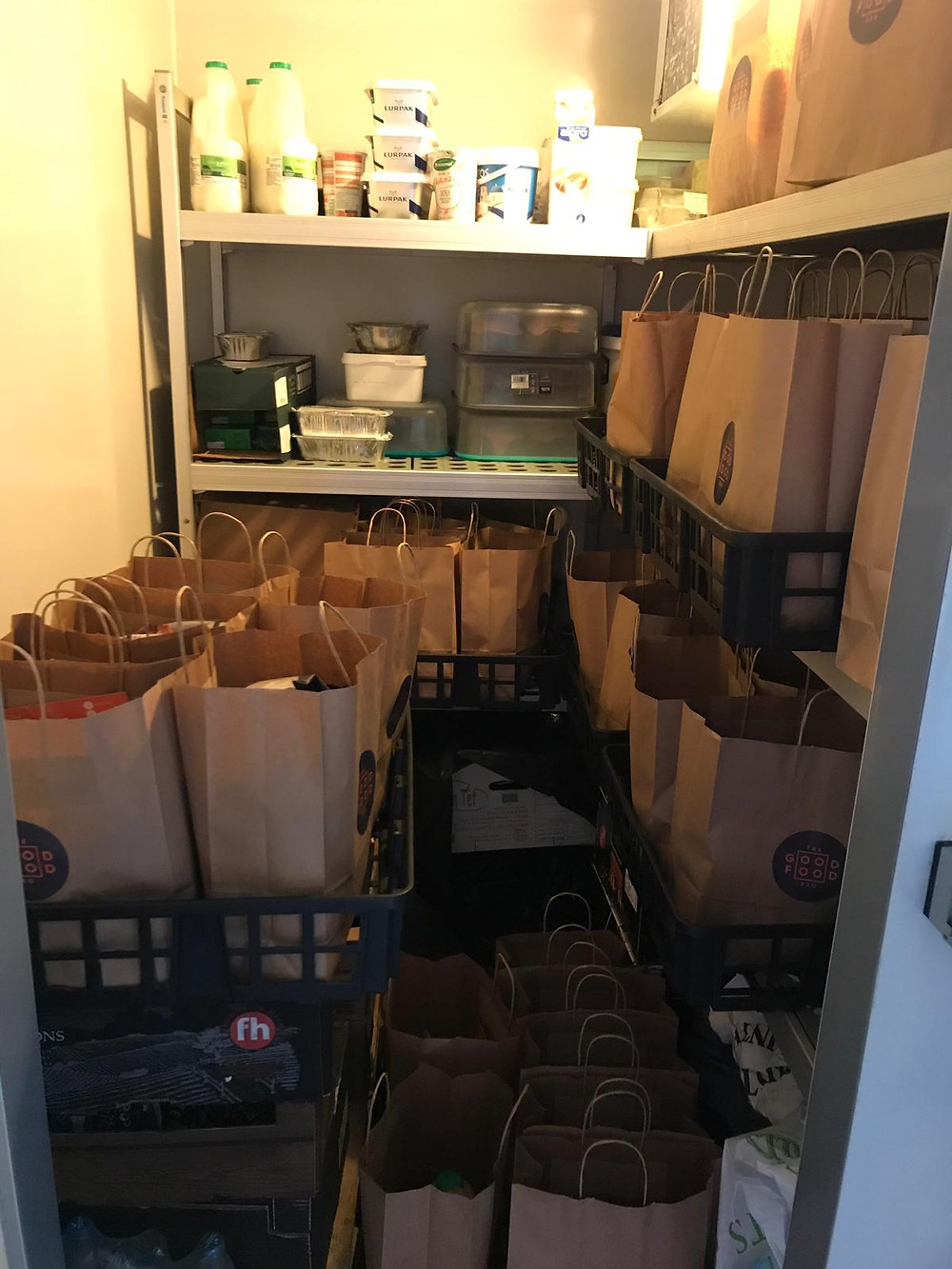 Picture of The Good Food Bag meal kits in a fridge