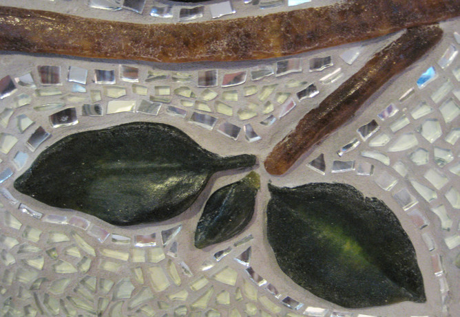 Detail of kiln cast glass leaf