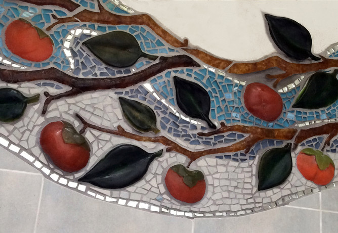 Detail of cast glass persimmon mosaic