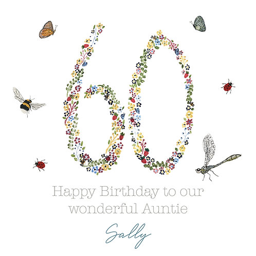 Personalised Floral Happy Birthday Age Card