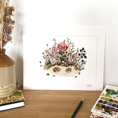 Hedgehog Meadow limited edition signed art print.