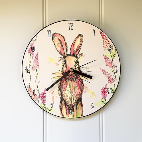 Hare Wooden Clock