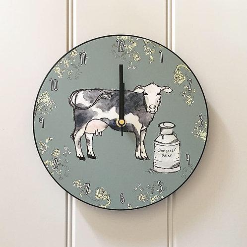 Somerset Dairy Cow Wooden Clock