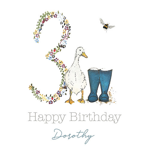 Personalised Duck & Wellies Happy Birthday Age Card