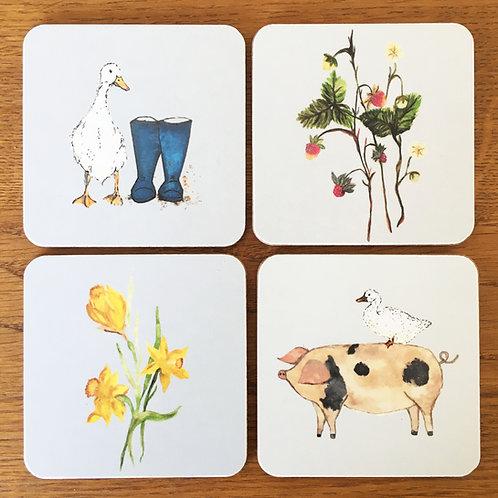 Farm Garden Coasters - Set of 4