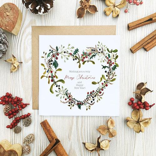 Heart Wreath Christmas Card
