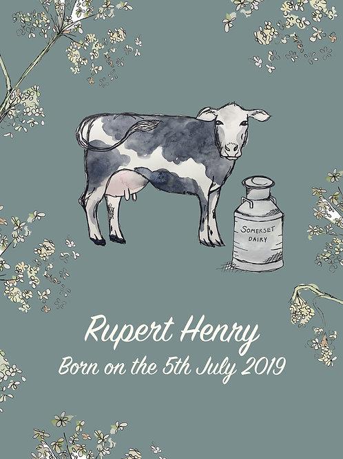 Somerset Cow Nursery Print