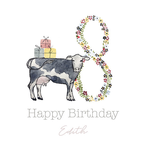 Personalised Dairy Cow Happy Birthday Age Card