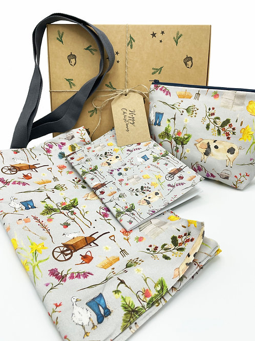 Christmas Gift Box - Farm Garden tote bag, pouch bag and note pad