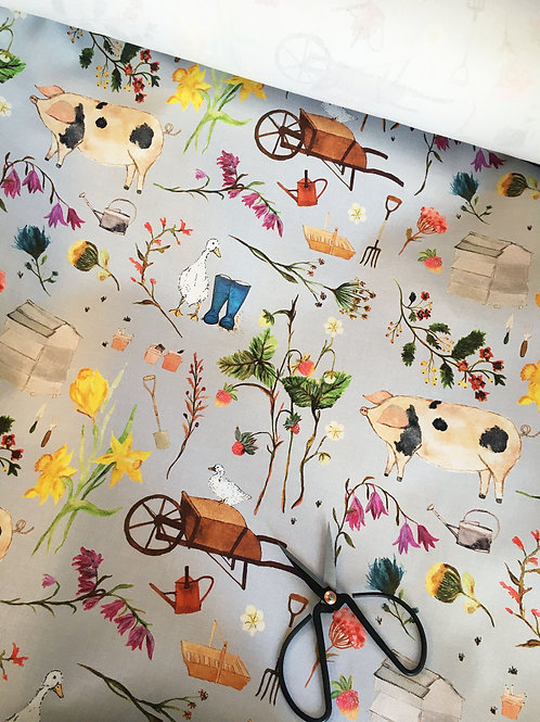 Farm Garden Fabric by the Metre - Light Grey