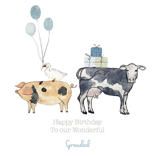 Personalised Dairy Cow & Pig Happy Birthday Card