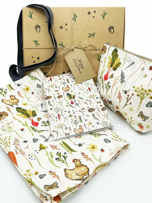 Christmas Gift Box - Country Meadows tote bag, pouch bag and note pad