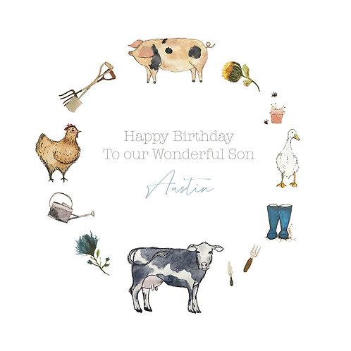 Personalised Farmyard Happy Birthday Card