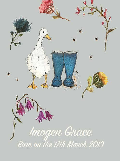 Duck & Flowers Nursery Print
