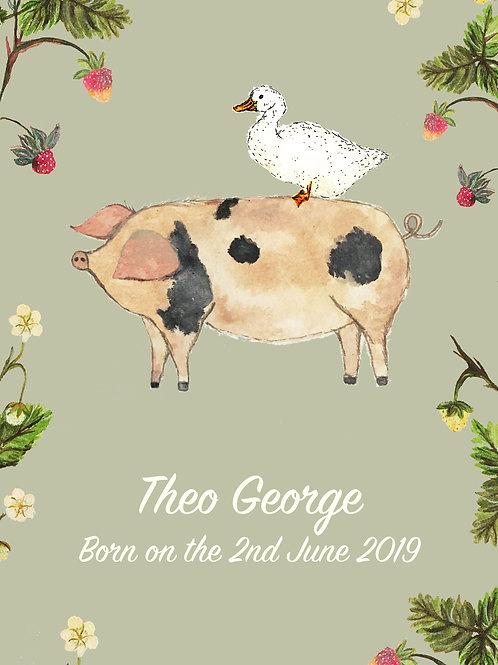 Pig & Duck Nursery Print