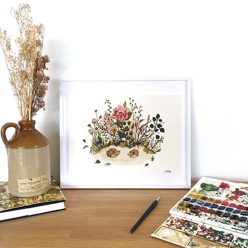 Hedgehog Meadow limited edition signed framed art print.
