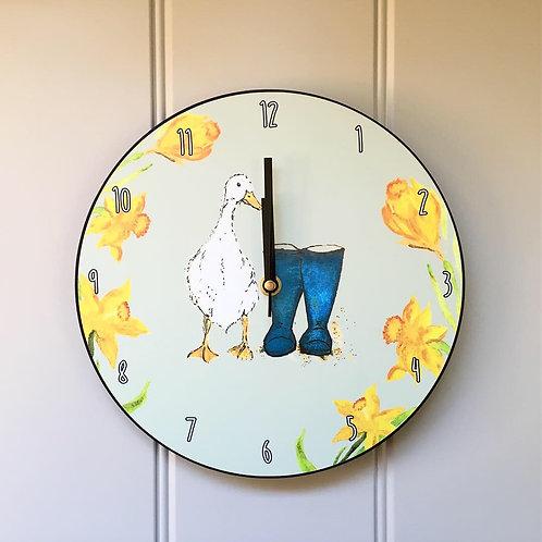 Duck & Wellies Wooden Clock