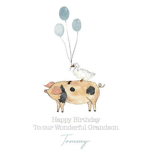 Personalised Pig Happy Birthday Card