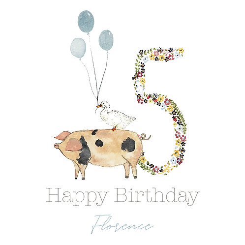 Personalised Pig Happy Birthday Age Card