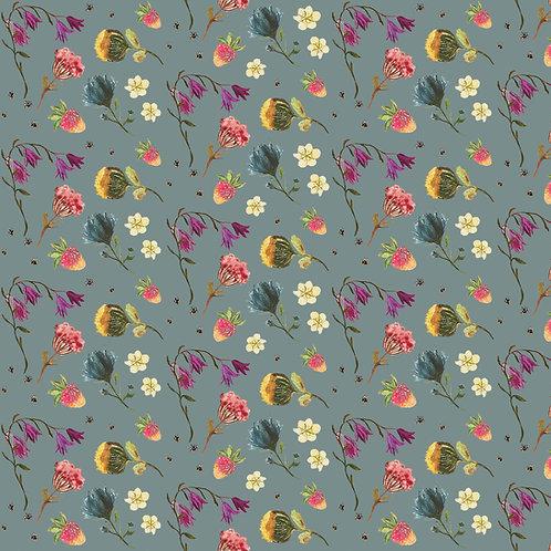 Flower Fields Fabric by the Metre - Blue