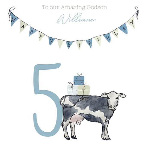 Personalised Dairy Cow & Bunting Happy Birthday Age Card